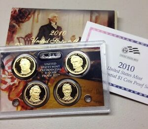 2010 S PRESIDENTIAL DOLLAR PROOF SET 4 COINS W/BOX AND COA