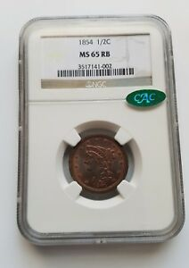 1854 BRAIDED HAIR HALF CENT   NGC MS65RB