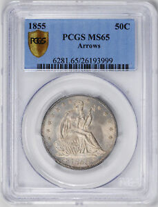 Click now to see the BUY IT NOW Price! 1855 LIBERTY SEATED 50C PCGS MS 65