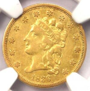 1836 CLASSIC GOLD QUARTER EAGLE $2.50   NGC VF DETAILS  VF     COIN