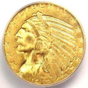 1912 INDIAN GOLD HALF EAGLE $5 COIN   ICG MS63    IN MS63   $1 170 VALUE