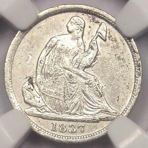 1837 SEATED LIBERTY HALF DIME H10C   CERTIFIED NGC AU DETAILS    EARLY DATE