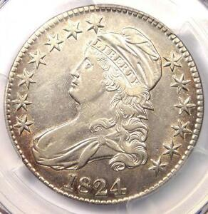 1824 CAPPED BUST HALF DOLLAR 50C   PCGS AU DETAILS    CERTIFIED COIN