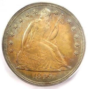 1849 SEATED LIBERTY SILVER DOLLAR $1 COIN   ICG MS63  PLUS GRADE   $6 600 VALUE