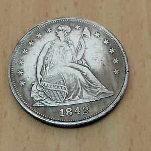 1842 US ONE DOLLAR OLD COIN REAL