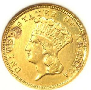 1854 THREE DOLLAR INDIAN GOLD PIECE $3 COIN   ANACS AU DETAILS  EX JEWELRY