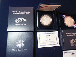 Click now to see the BUY IT NOW Price! 2010 BOY SCOUTS PROOF AND BU SILVER DOLLARS WITH BOXES AND COAS  BL6