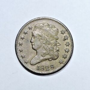 1828 HALF CENT AU ALMOST UNCIRCULATED CONDITION 13 STARS VARIETY