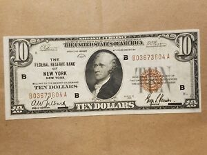 Click now to see the BUY IT NOW Price! 1929 $10 FEDERAL RESERVE BANK NOTE NEW YORK FRBN NATIONAL CURRENCY FR 1860 B