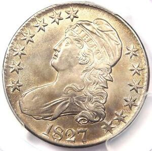 1827 CAPPED BUST HALF DOLLAR 50C COIN   PCGS UNCIRCULATED DETAILS  BU MS UNC