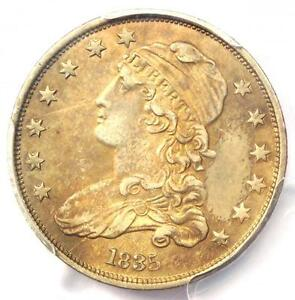 1835 CAPPED BUST QUARTER 25C   PCGS AU DETAILS    EARLY DATE COIN IN AU