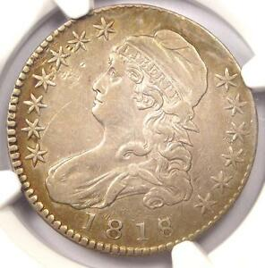 1818/7 CAPPED BUST HALF DOLLAR 50C O 101   NGC XF DETAIL    EF OVERDATE COIN