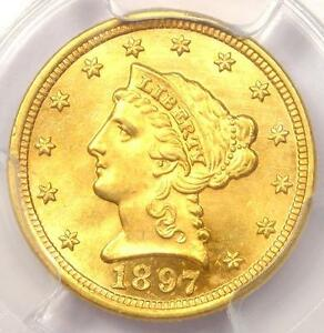 1897 LIBERTY GOLD QUARTER EAGLE $2.50   PCGS UNCIRCULATED    MS UNC COIN