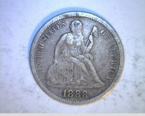 1888 US SEATED LIBERTY DIME  CIRCULATED .900 SILVER  US 6339