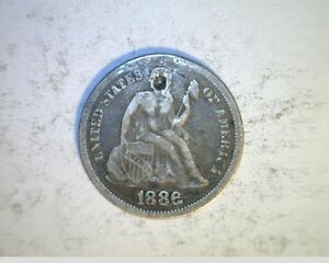 1886 US SEATED LIBERTY DIME  CIRCULATED .900 SILVER  US 6345