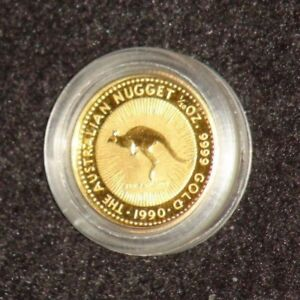 1990 AUSTRALIA GOLD NUGGET SERIES 1/20 OZ GOLD COIN IN CAPSULE