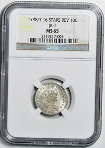 Click now to see the BUY IT NOW Price! 1798/7 DRAPED BUST 10C NGC MS 65