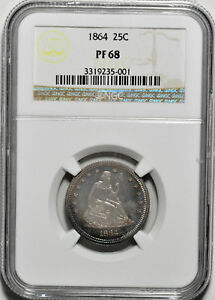 Click now to see the BUY IT NOW Price! 1864 LIBERTY SEATED 25C NGC PR 68