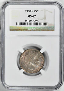 Click now to see the BUY IT NOW Price! 1908 S BARBER 25C NGC MS 67