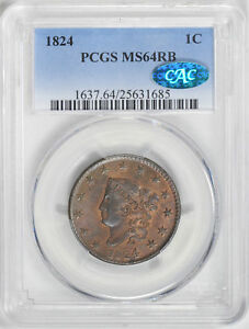 Click now to see the BUY IT NOW Price! 1824 CORONET HEAD 1C PCGS MS 64 RB