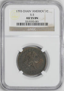 Click now to see the BUY IT NOW Price! 1793 CHAIN 1C NGC AU 55