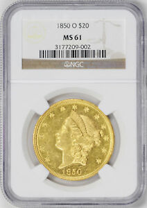 Click now to see the BUY IT NOW Price! 1850 O LIBERTY HEAD $20 NGC MS 61
