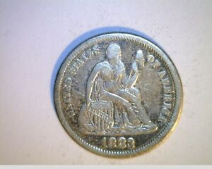 1883 US SEATED LIBERTY DIME HIGH GRADE CIRCULATED .900 SILVER  US 1256