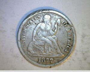 1877 CC US SEATED LIBERTY DIME  CIRCULATED .900 SILVER  US 6336