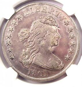 1801 DRAPED BUST SILVER DOLLAR $1   NGC VF DETAILS  VERY FINE     COIN