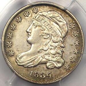 1834 CAPPED BUST DIME 10C JR 4   PCGS AU DETAIL    EARLY DATE CERTIFIED COIN