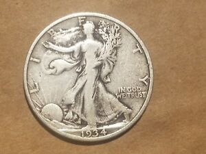 Click now to see the BUY IT NOW Price! 1934 WALKING LIBERTY HALF DOLLAR SILVER COIN 50 CENTS WALKER 50C 1/2 FINE