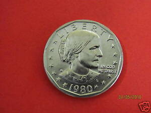 1980 D  BU MINT STATE   SUSAN B ANTHONY  US ONE DOLLAR COIN