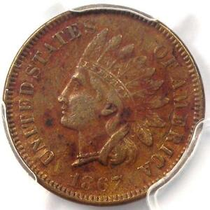 1867 INDIAN CENT 1C   PCGS XF DETAILS  EF     EARLY DATE CERTIFIED PENNY