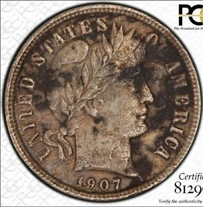 1907 D 10C BARBER DIME CERTIFIED PCGS XF