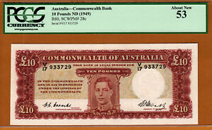 Click now to see the BUY IT NOW Price! AUSTRALIA 10 POUNDS ND  1949  COOMBS/WATT PICK 28C ABOUT UNC PCGS 53