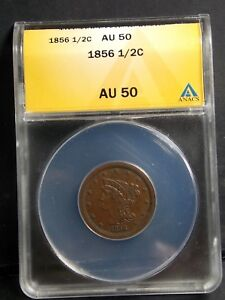 1856 BRAIDED HALF EARLY COPPER HALF CENT ANACS ALMOST UNCIRCULATED 50 AU50
