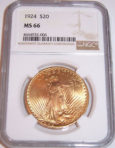 1924 $20 ST GAUDENS NGC MS66 GEM PHILADELPHIA GOLD DOUBLE EAGLE