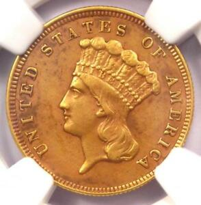 1879 THREE DOLLAR INDIAN GOLD COIN $3   CERTIFIED NGC AU DETAILS    DATE