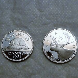 GEM    1981   FROSTED PROOF    QUARTER AND  NICKEL  2 X COINS