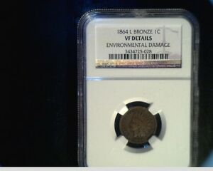 1864 L  US INDIAN HEAD CENT  CERTIFIED NGC VF DETAILS   US 775