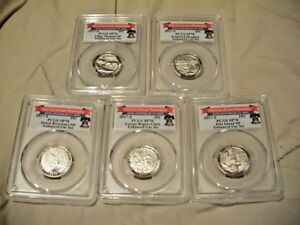 2017 S PCGS SP70 ENHANCED UNC QUARTER SET FIRST DAY ISSUE   LIBERTY BELL LABELS