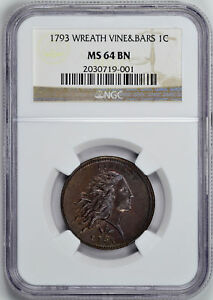 Click now to see the BUY IT NOW Price! 1793 WREATH 1C NGC MS 64 BN