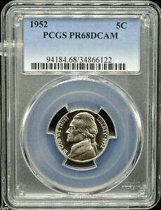 Click now to see the BUY IT NOW Price! 1952 JEFFERSON 5C PCGS PR 68 DCAM  POP 6/ONLY 1 FINER