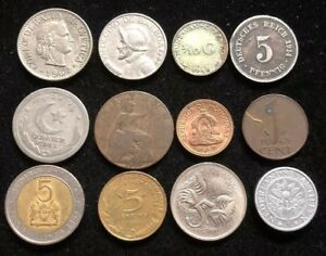 TWELVE ASSORTED SMALL FOREIGN COINS LOT NC15