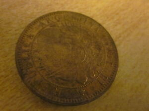 1893 ARGENTINE DOS CENTAVOS COIN CAPPED LIBERTY BRONZE