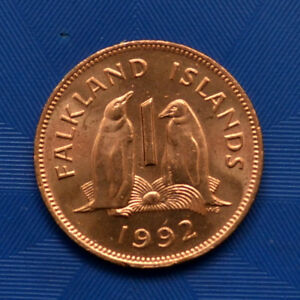 FALKLAND ISLANDS 1 PENNY 1992. UNC PENGUINS WITH EGG ANIMAL WILDLIFE COIN