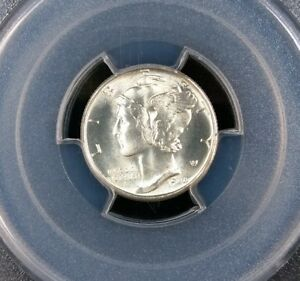 1944 S MERCURY DIME PCGS MS65 WHITE POLISHED REVERSE