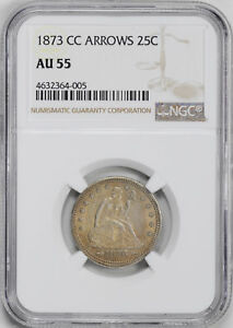 Click now to see the BUY IT NOW Price! 1873 CC LIBERTY SEATED 25C NGC AU 55