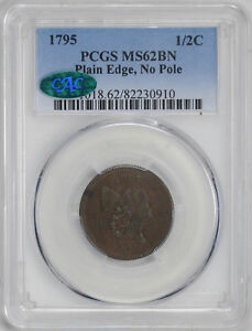 Click now to see the BUY IT NOW Price! 1795 LIBERTY CAP 1/2 PCGS MS 62 BN