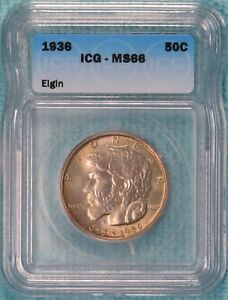 1936 MS 66 ELGIN ILLINOIS EARLY CLASSIC COMMEMORATIVE SILVER HALF